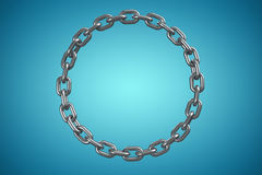 Composite image of 3d image of shiny metallic circular chain. 3d image of shiny metallic circular chain against blue vignette background Royalty Free Stock Photo