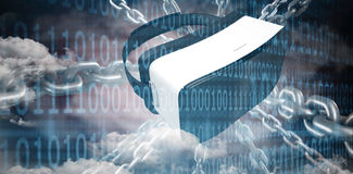 Composite image of 3d image of silver chain. 3d image of silver chain  against clouds and binary coded computer screen Royalty Free Stock Photo