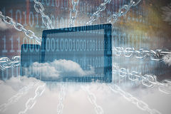 Composite image of 3d image of silver chain. 3d image of silver chain  against clouds and binary coded computer screen Royalty Free Stock Photography