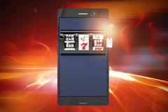 Composite image of 3d image of slot machine on smartphone Royalty Free Stock Photo