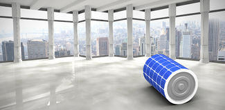 Composite image of 3d image of solar battery. 3d image of solar battery against modern room overlooking city Stock Images