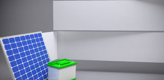Composite image of 3d image of solar panel with battery. 3d image of solar panel with battery  against abstract room Stock Images
