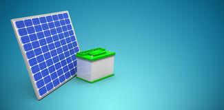 Composite image of 3d image of solar panel with battery. 3d image of solar panel with battery  against blue vignette background Royalty Free Stock Photos