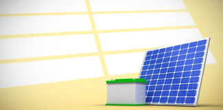 Composite image of 3d image of solar panel with battery. 3d image of solar panel with battery against white stripes on yellow wall Stock Photo