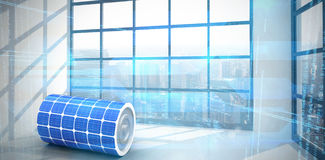 Composite image of 3d image of solar power battery. 3d image of solar power battery against room with large window showing city Royalty Free Stock Photo