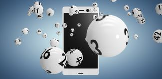 Composite image of 3d image of white bingo balls. 3D image of white bingo balls against purple vignette Stock Photos