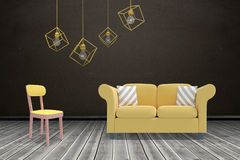 Composite image of 3d image of yellow pendant light against white background Stock Image