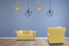 Composite image of 3d image of yellow pendant light against white background Royalty Free Stock Photo