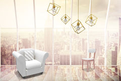 Composite image of 3d image of yellow pendant light against white background. 3d image of yellow pendant light against white background against window Stock Photo