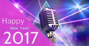 Composite image 3D of 2017 new year greeting and microphone Royalty Free Stock Image