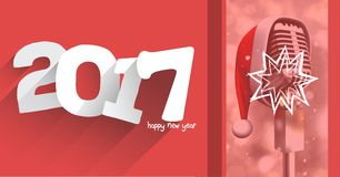 Composite image 3D of 2017 new year greeting and microphone. Composite image 3D of 2017 new year and santa hat on microphone Royalty Free Stock Photography