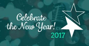 Composite image 3D of 2017 new year message with microphone Royalty Free Stock Images
