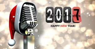 Composite image 3D of 2017 new year sign and santa hat on microphone. Against bokeh lights Stock Photos