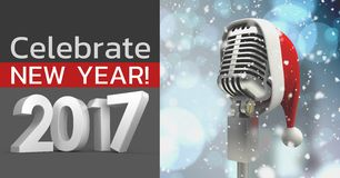 Composite image 3D of 2017 new year sign and santa hat on microphone. Against snowy background Royalty Free Stock Photos