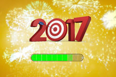 Composite image of 3D numbers with bulls eye arrow. 3D Numbers with bulls eye arrow against colourful fireworks exploding on black background Royalty Free Stock Images