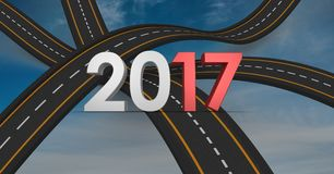 2017 on composite image 3D of over lapping roads Stock Image