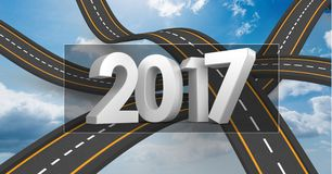 2017 on composite image 3D of over lapping roads Royalty Free Stock Photo