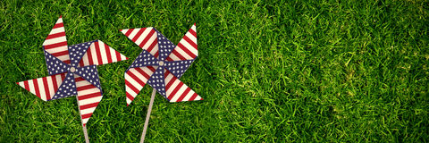 Composite image of 3d image composite of pinwheel with american flag pattern Stock Photo