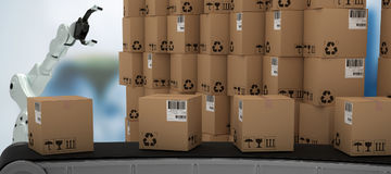 Composite image of 3d production line by stack of brown cardboard boxes Royalty Free Stock Photo