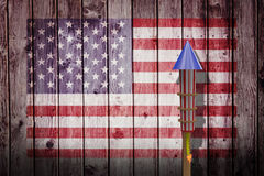 Composite image of  3D rocket for fireworks. 3D Rocket for fireworks against composite image of usa national flag Royalty Free Stock Photo