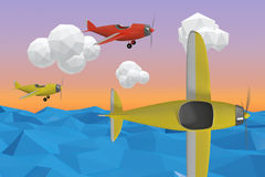 Composite image of 3d yellow plane Royalty Free Stock Photos