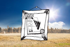Composite image of data analysis doodle in frame Royalty Free Stock Photos
