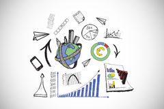 Composite image of data analysis doodles Royalty Free Stock Photos