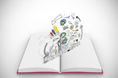 Composite image of data analysis doodles on open book Stock Photos