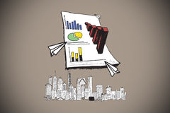 Composite image of data analysis doodles over cityscape Stock Photo