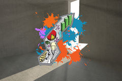 Composite image of data in arrow on paint splashes Stock Photography