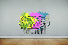 Composite image of data brainstorm on paint splashes Stock Photography