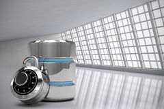 Composite image of database server icon with combination lock Royalty Free Stock Image