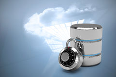 Composite image of database server icon with combination lock Royalty Free Stock Photography