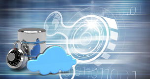 Composite image of database server icon with combination lock and blue cloud. Database server icon with combination lock and blue cloud against computer icons stock illustration