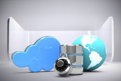 Composite image of database server icon with combination lock and earth. Database server icon with combination lock and earth against abstract room stock illustration
