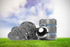 Composite image of database server icon with combination lock and metallic gears cloud. Database server icon with combination lock and metallic gears cloud stock illustration