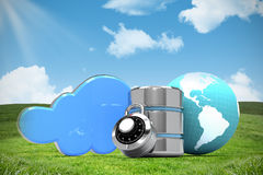 Composite image of database server icon with earth and combination lock. Database server icon with earth and combination lock against blue sky over green field royalty free illustration