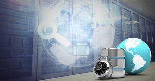 Composite image of database server icon with lock and earth Royalty Free Stock Images