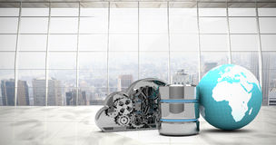 Composite image of database server icon with mechanical cloud and earth. Database server icon with mechanical cloud and earth against modern room overlooking Royalty Free Stock Images