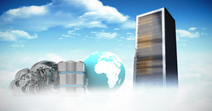 Composite image of database server icon with mechanical cloud and earth Royalty Free Stock Image