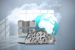 Composite image of database server icon with metallic cloud and earth. Database server icon with metallic cloud and earth against room with holographic cloud vector illustration