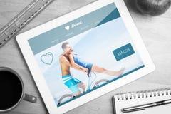 Composite image of dating website. Dating website against tablet on desk stock photos