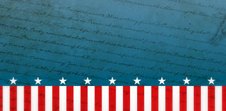Composite image of declaration of independence. Declaration of independence against focus on stars Royalty Free Stock Photos