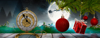Composite image of decorations on tree Stock Photo