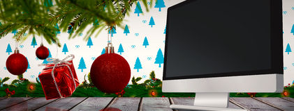 Composite image of decorations on tree Royalty Free Stock Photo