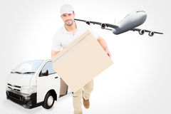 Composite image of delivery man with cardboard box running Stock Photos