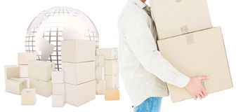 Composite image of delivery man carrying cardboard boxes Stock Photography