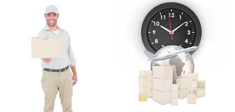 Composite image of delivery man giving package on white background Stock Photography