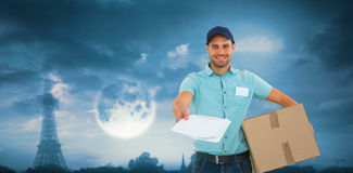 Composite image of delivery man with package giving clipboard for signature Stock Images
