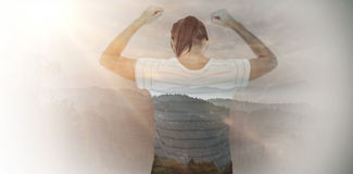 Composite image of depressed woman with hands raised Stock Photography